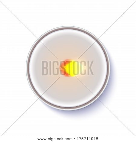 Realistic wax, flamed round candle in a metal case isolated on white backdrop. Top view on white burning candle. Template for invitation or greeting cards. Vector illustration.