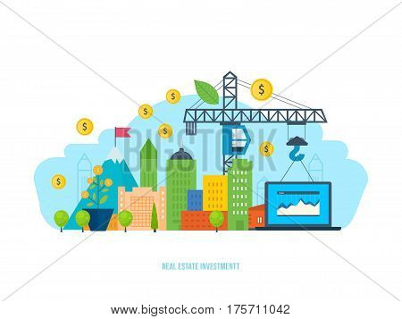 Real estate investment, financial gain and efficiency, successful cooperation. Vector illustration isolated on white background. Can be used in banner, mobile app, design.