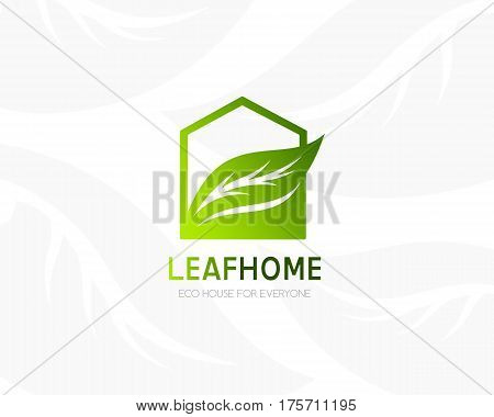 House with leaf logo template. Conceptual icon for hotels real estate firms eco friendly smart houses cottages