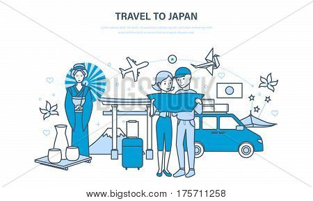Young family travel to Japan, conducting a joint vacation, acquainted with the culture, sights and traditions of the country. Illustration thin line design of vector doodles, infographics elements.