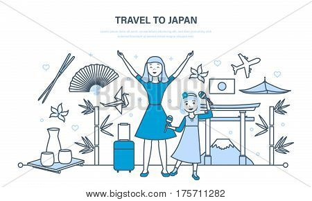 Mum with a daughter travel to Japan, conducting joint vacation, acquainted with culture, sights and traditions of the country. Illustration thin line design of vector doodles, infographics elements.