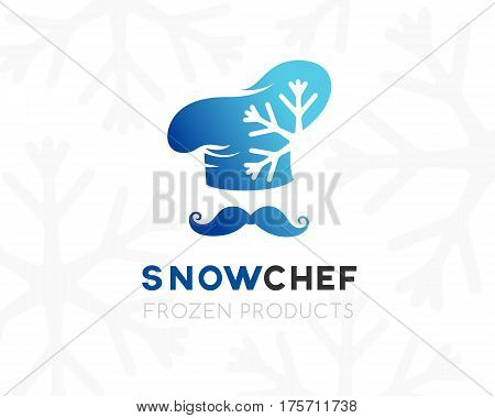 Snow chef logo template. Conceptual icon for frozen products term holding company ice cream store or cafe