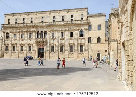Lecce Italy - 23 June 2016: people visiting on walking Duomo square in Lecce Italy