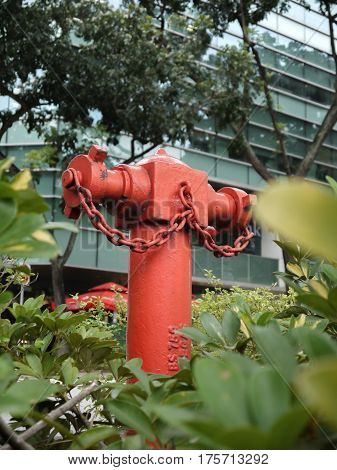 SINGLE RED FIRE HYDRANT, CITY HALL, SINGAPORE