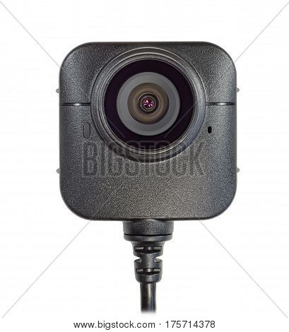 lens from the camcorder security police body camera black color isolated white background vertical image