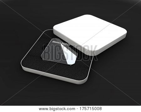 Hdd, mini hard disk drive, components, 3d Illustration, isolated black