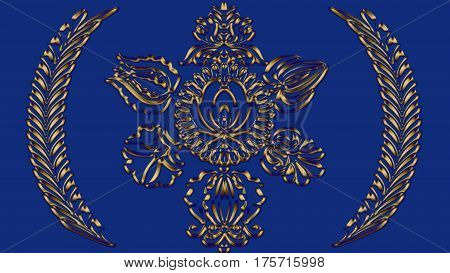 Violet-blue background with folk gold patterns can be used in the design textile printing industry in a variety of design projects.