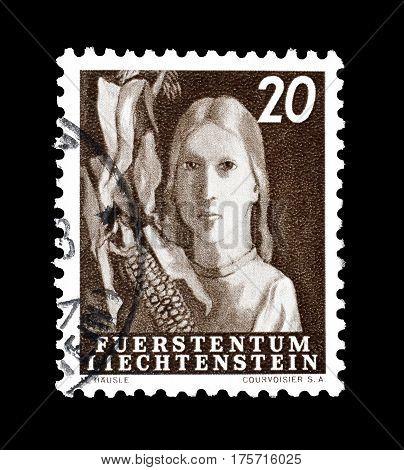 LIECHTENSTEIN - CIRCA 1951 : Cancelled postage stamp printed by Liechtenstein, that shows Agriculture.