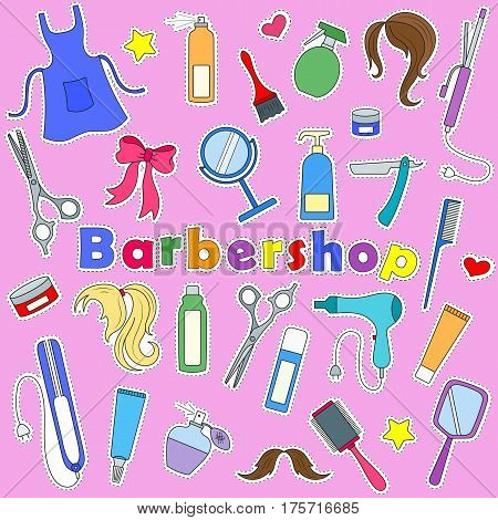 Set on a theme Barber shop tools and accessories of Barber colored patches icons on pink background