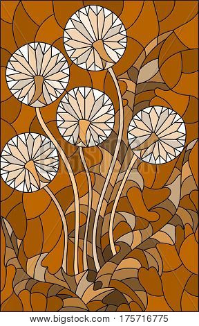 Illustration in stained glass style flower of blowball brown tone Sepia