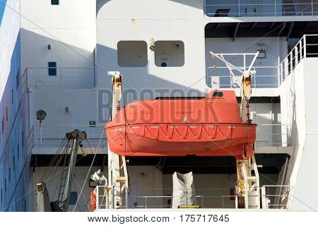 Oakland CA - March 07 2017: Lifeboat on cargo ship NYK ATHENA. One of the most important life-saving equipments onboard a ship which is used at the time of extreme emergencies for abandoning ship.