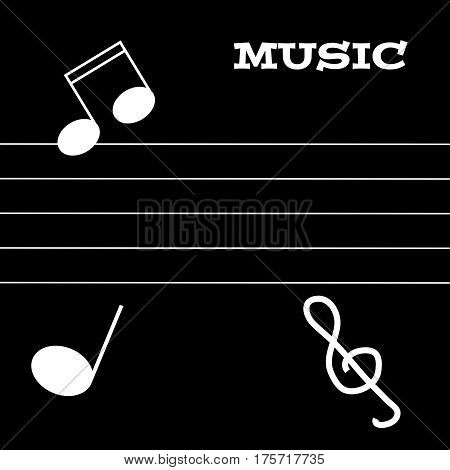 White notes, warp and treble clef on black background.Vector Illustration.