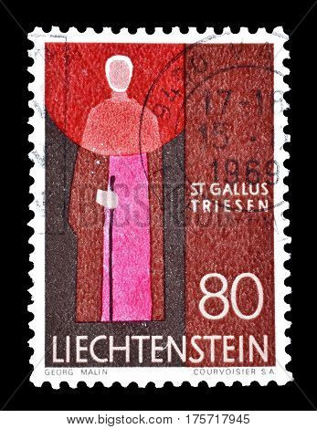 LIECHTENSTEIN - CIRCA 1968 : Cancelled postage stamp printed by Liechtenstein, that shows Saint Gallus.