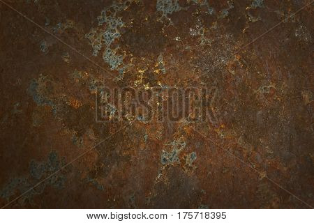 The rusted steel wall is caused wiht water and air and empty space for text For web design or graphic art image and photography studio backdrop .