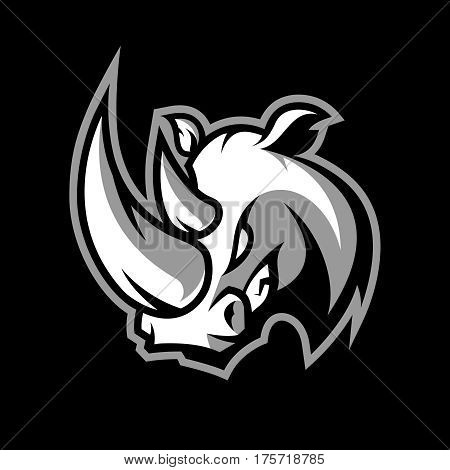 Furious rhino sport vector logo concept isolated on dark background. Professional team badge design. Premium quality wild animal t-shirt tee print illustration.