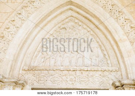 Monte Sant'Angelo, Italy - 28 June 2016: Detail of St Michael basilica at Monte Sant'Angelo on Puglia Italy