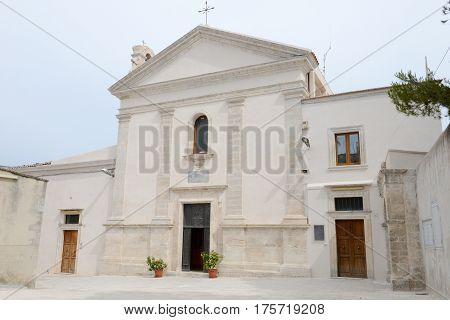 Monte Sant'Angelo, Italy - 28 June 2016: St Michael church at Monte Sant'Angelo on Puglia Italy