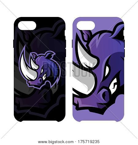 Furious rhino sport vector logo concept smart phone case isolated on white background. Professional team badge design. Premium quality wild animal artwork cell phone cover illustration.