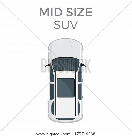 Mid size SUV means of transportation isolated on white. Vector city transport icon, sport or suburban utility vehicle, top view oncar in cartoon style. Light truck operated as a family vehicle