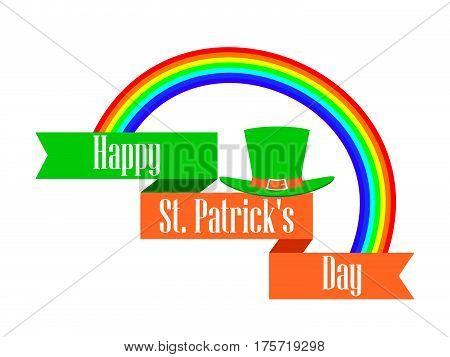 St.Patrick 's Day. Rainbow and leprechaun hat with ribbon. Celebratory banner. Vector illustration