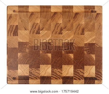 New wooden cutting board isolated on white background shot from above