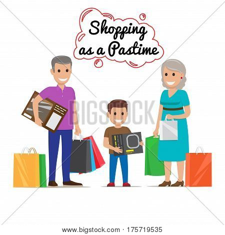 Shopping as a pastime vector illustration. Shopping together with family grandmother with bags, grandfather with bags and box, and boy with box. Grandparents make presents for adorable grandson