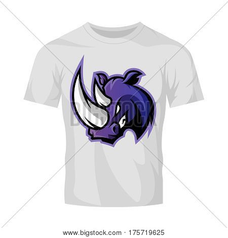 Furious rhino sport vector logo concept isolated on white t-shirt mockup. Modern rofessional team badge design. Premium quality wild animal t-shirt tee print illustration.