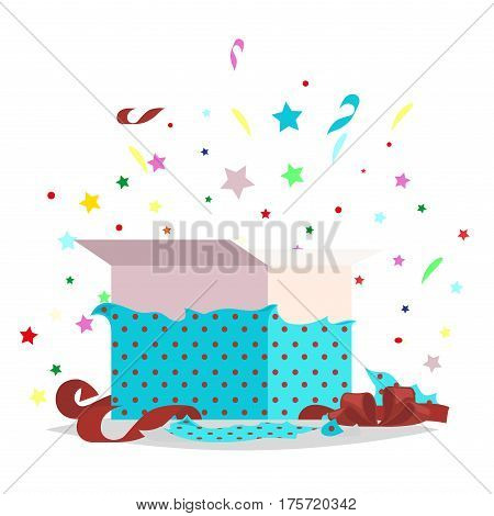 Open blue dotted gift box with bow and stars that pop-up out of it on white. Salute fireworks elements behind the box with surprise. Celebrate holidays and exchange gifts isolated vector illustration.