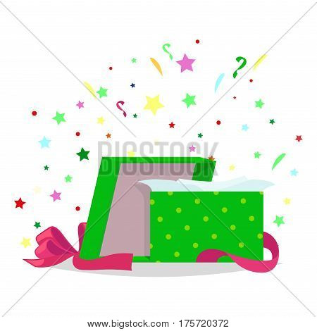 Open gift box with bow and stars that pop-up out of it on white background. Recieve and open Christmas or birthday present. Celebrate holidays and exchange gifts isolated vector illustration.