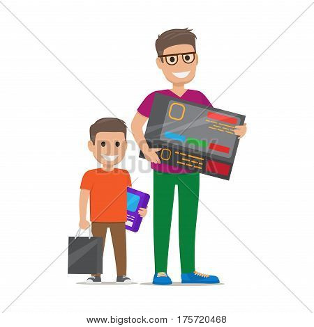 Father with son buying electronics. Pleased man and boy standing with bought goods and paper bags flat vector isolated on white background. Happy customers illustration for shopping and sale concepts