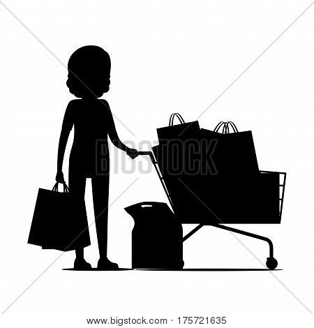 Female silhouette standing and holding packages near shopping cart full of packs. Vector illustration of purchasing woman on white. Commercial process of buying goods and going home with packs.