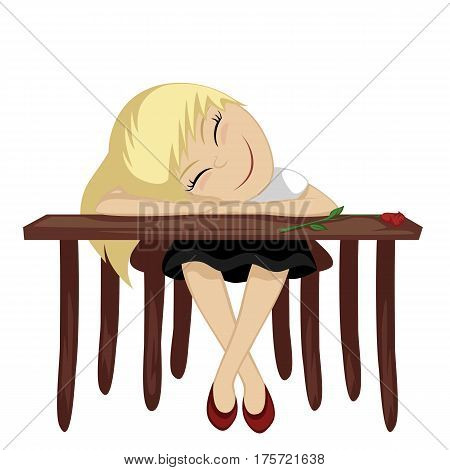 a girl is daydreaming while sitting at a table