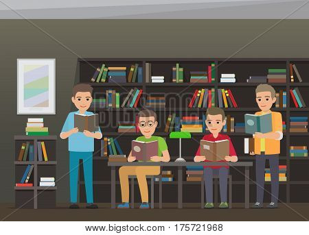Process of reading books in educational library by four boys. Vector illustration of two sitting and two standing young male people that get to know some information from books near bookshelf