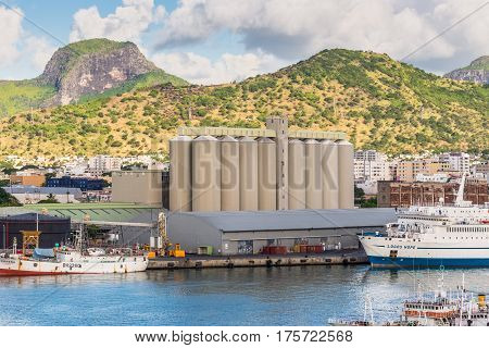 Port Louis Mauritius - December 12 2015: View of the Bulk Sugar Terminal situated in Port Louis Capital of Mauritius.