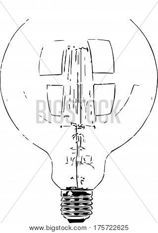 Vector silhouette outline of light bulb made of glass with filaments and screw fitting.