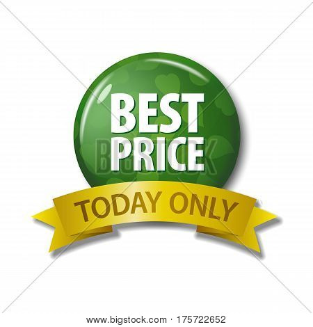 Green  Button And Ribbon With Words 'best Price Today Only'