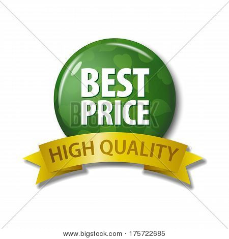 Green Button And Ribbon With Words 'best Price High Quality'