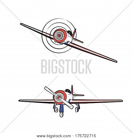 Vector illustration of a propeller aircraft in static and in flight on a white background