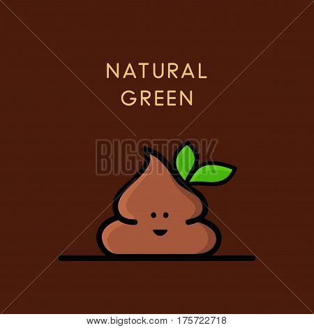 Funny happy poop or turd with green leaves - cartoon vector illustration. Environment and ecology - organic and natural plant.