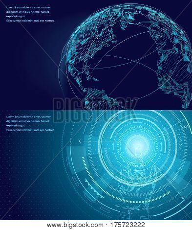 Networking symbol of international global communication vector poster with icons and text information. World map concept with wireless connecting technology communities. Using digital devices.