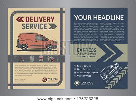 Set of Express delivery service brochure flyer design layout template. Fast delivery and quality service transportation magazine cover mockup flyer. Layout in A4 size. Vector illustration.