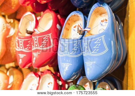 Dutch Clogs Made Of Wood, Traditional Shoe
