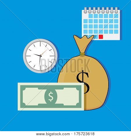 Time salary vector. Banknote and clock money and calendar illustration