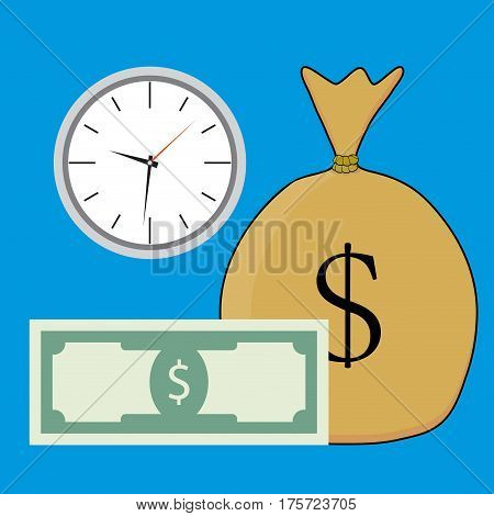 Time and money salary. Banknote money sack vector illustration