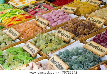 Mixed colorful fruit bonbon close up for sale