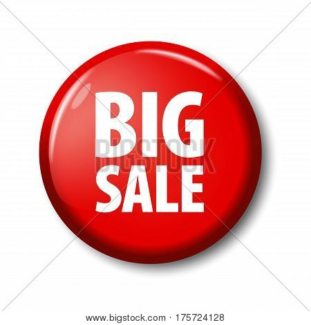 Bright Red Round Button With Words 'big Sale'