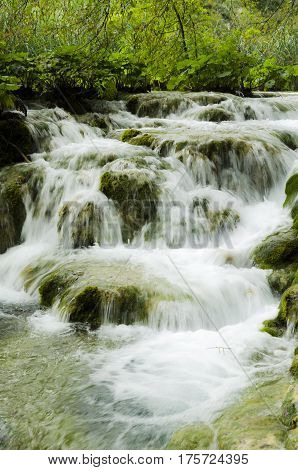 water stream landscape at plitvicka lake national park unesco heritae site plitvice croatia.