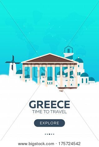Greece. Time To Travel. Travel Poster. Vector Flat Illustration.