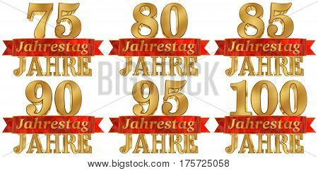 Set of golden digit and the word of the year. Translated from the German. 3D illustration