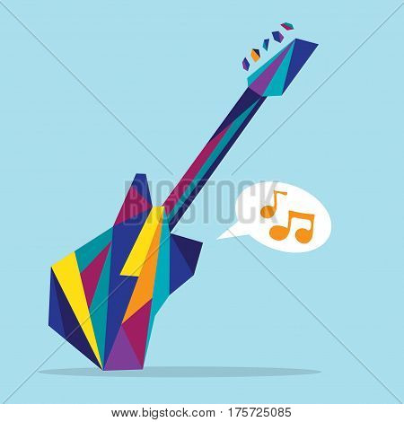Flat illustration of dynamic hype colorful guitar
